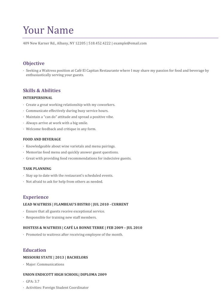 download resume template for restaurant waitstaff