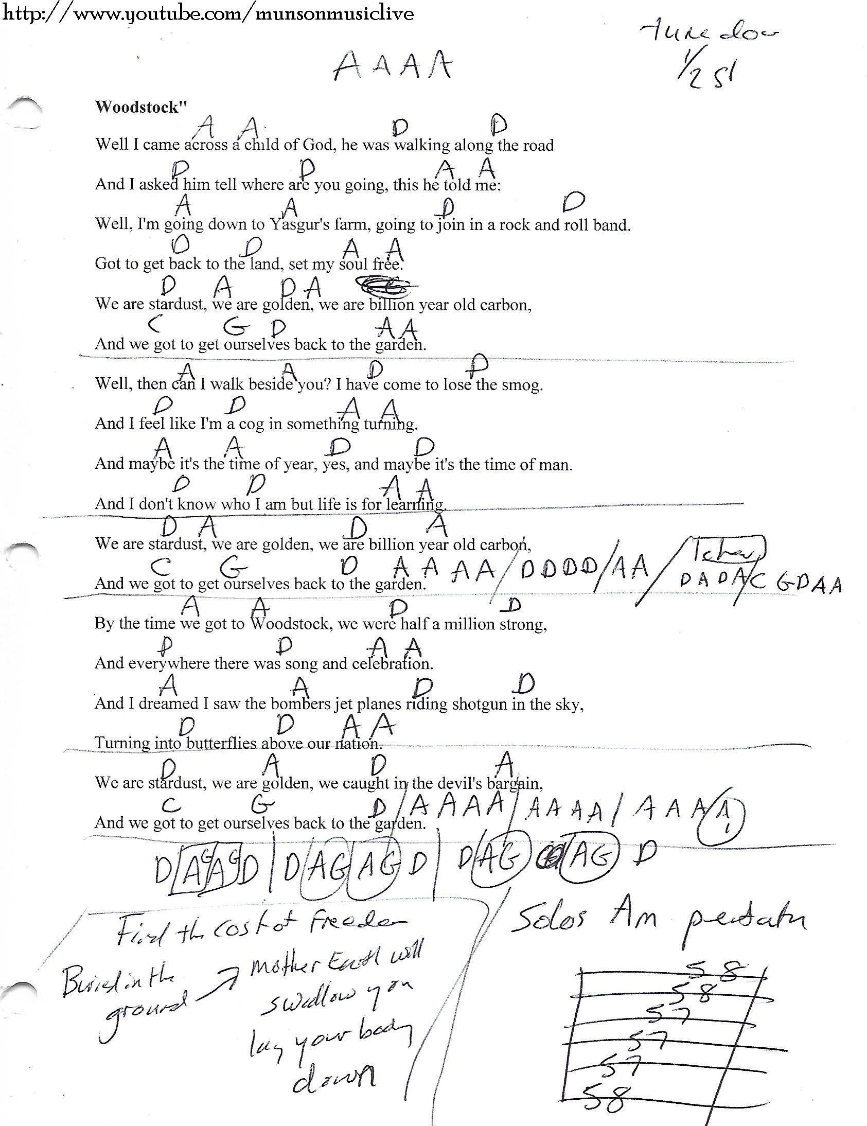 Woodstock Csny Guitar Chord Chart Guitar Lesson Chord Charts