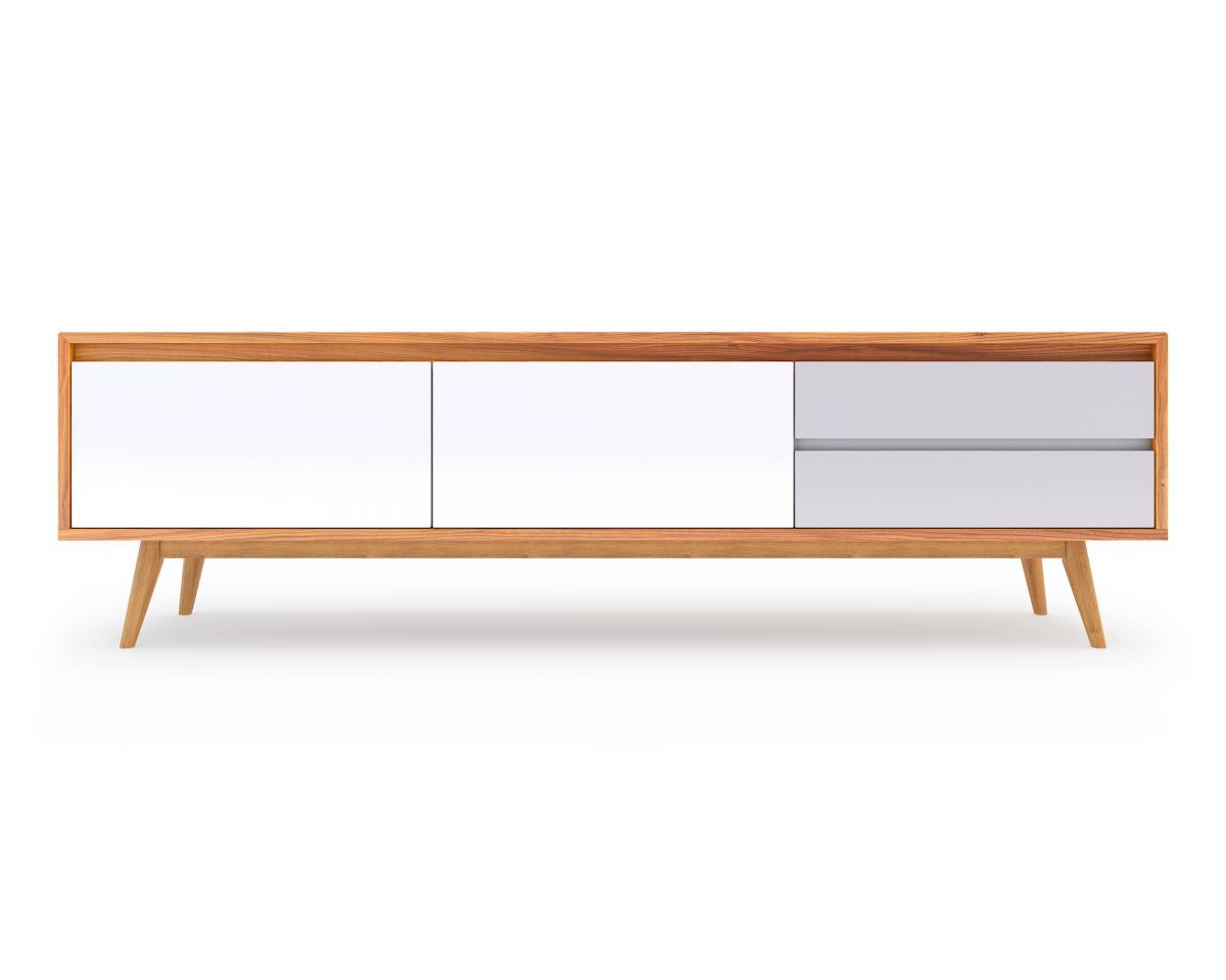 Liven Up Your Living Space With Rove Concepts Mid Century And Modern Customizable TV Stands The Lucas Stand Is Solidly Encased By Elm Wood Veneer Made
