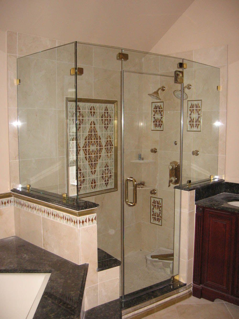 Calming Soft Brown Loft Bathroom Focused On Corner Glass Shower Room ...
