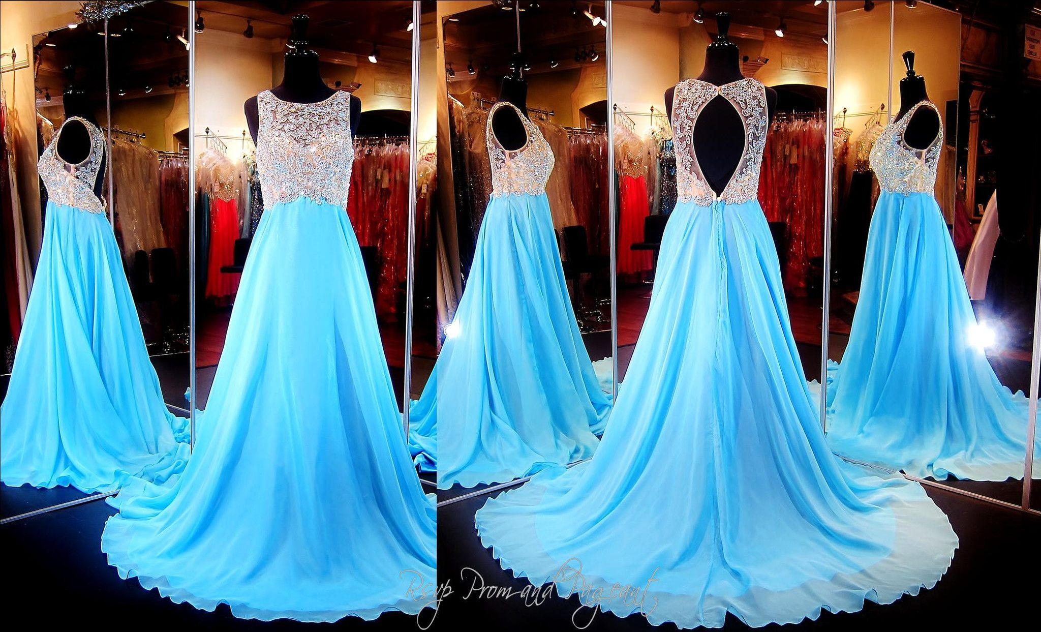 Aqua Chiffon Floating Prom or Pageant Dress-Beaded High Neckline ...
