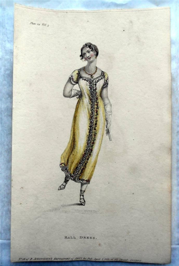 1811 Ackermann Ladies' Fashion Lemon Ball Dress Regency