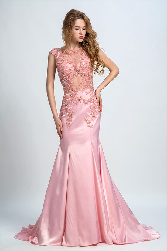 Sexy Soft Silk Lace Beaded Baby Pink Long Prom Dress | Prom Dress ...