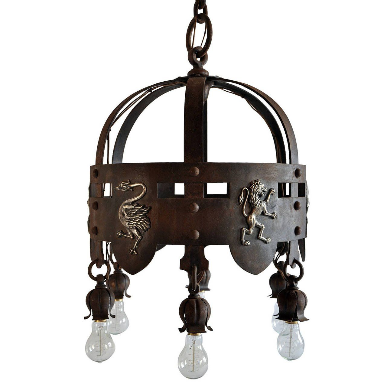 Iron arts crafts chandelier with brass emblems iron art c1900 iron arts crafts chandelier with brass emblems arubaitofo Choice Image
