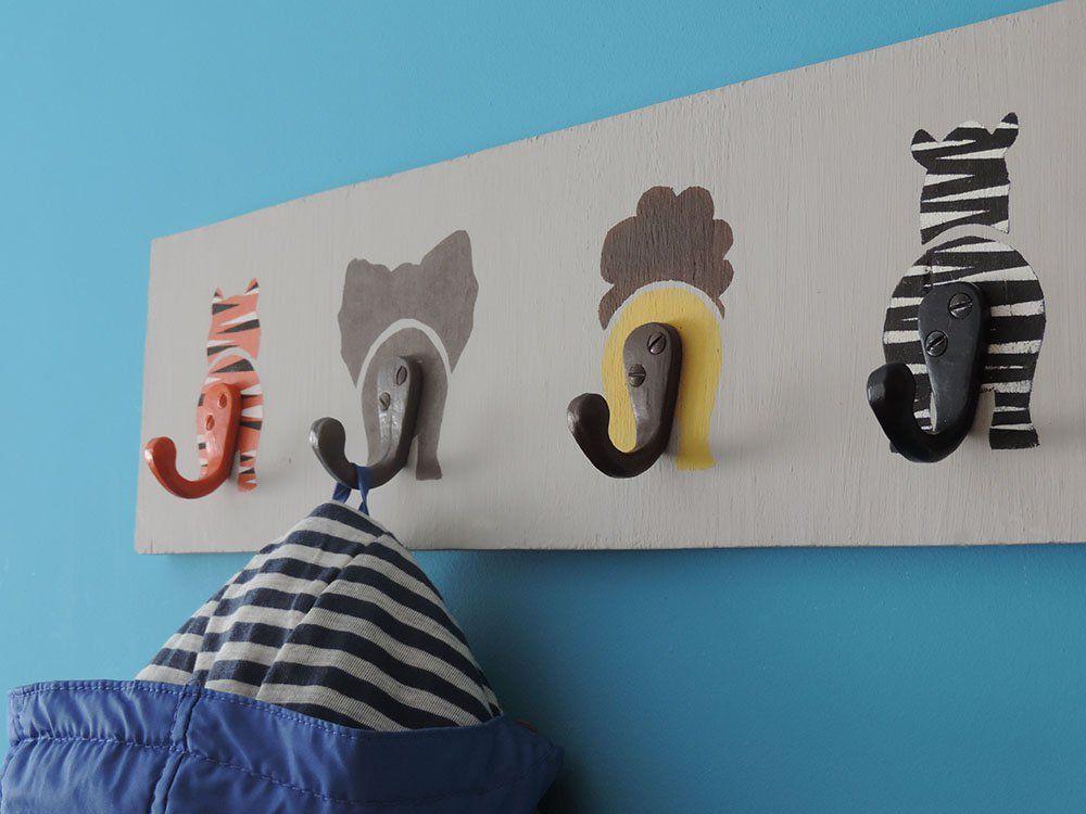 C mo hacer un perchero infantil decorado con animales - Perchero infantil pared ...