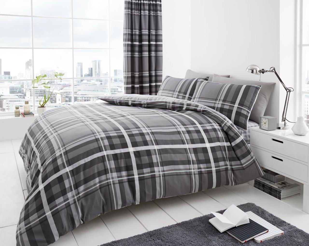 Newton Tartan Check Duvet Quilt Bedding Set Home Textiles