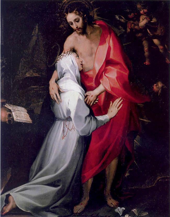 S. Caterina da Siena beve il Sangue dal costato di Cristo  Cripta del Duomo - Siena