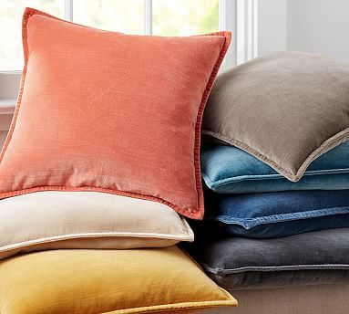 Washed Velvet Pillow Cover #potterybarn ::: WOULD COORDINATE IKAT Pillow on MASTER BEDROOM COUCH WELL, select color that's in ikat pillow (need inserts too) ::::