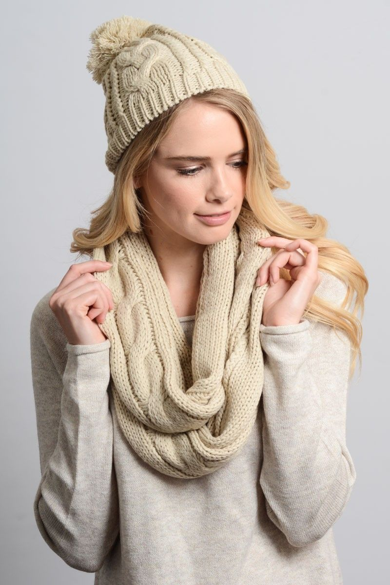 bd65133e8 wholesale winter infinity scarf matching beanie gift holiday ivory ...
