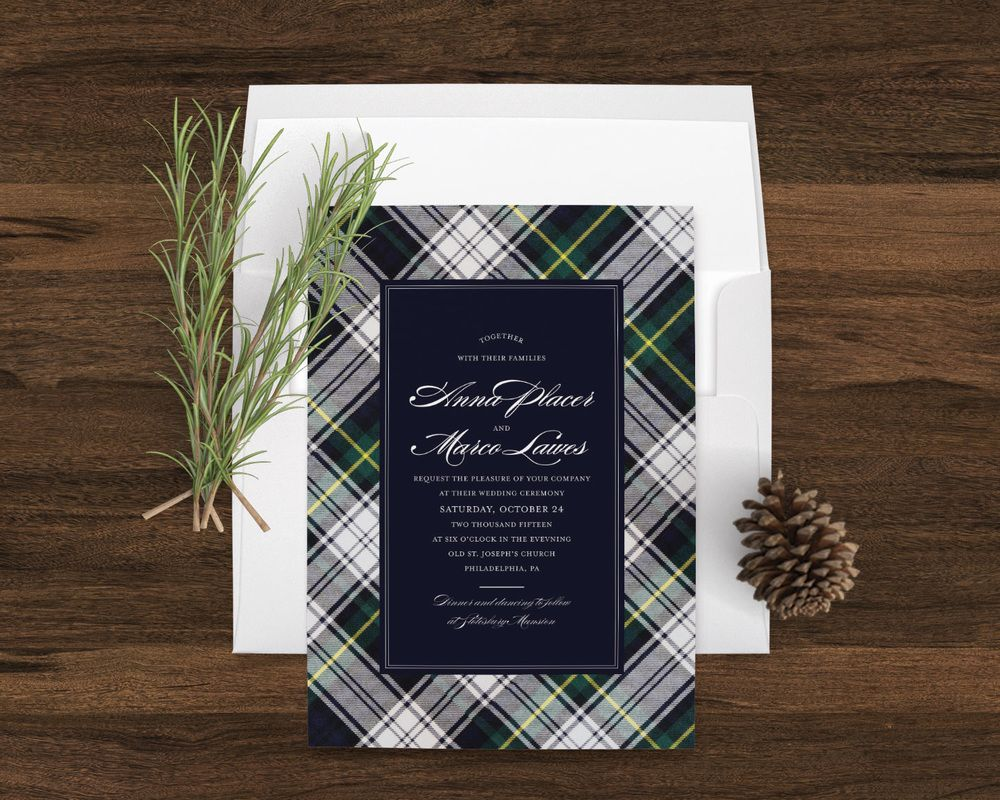 Highlands Tartan Wedding Invitation By Little Words Design Lovely Winter In Navy Blue And Hunter Green Gordon Dress Plaid