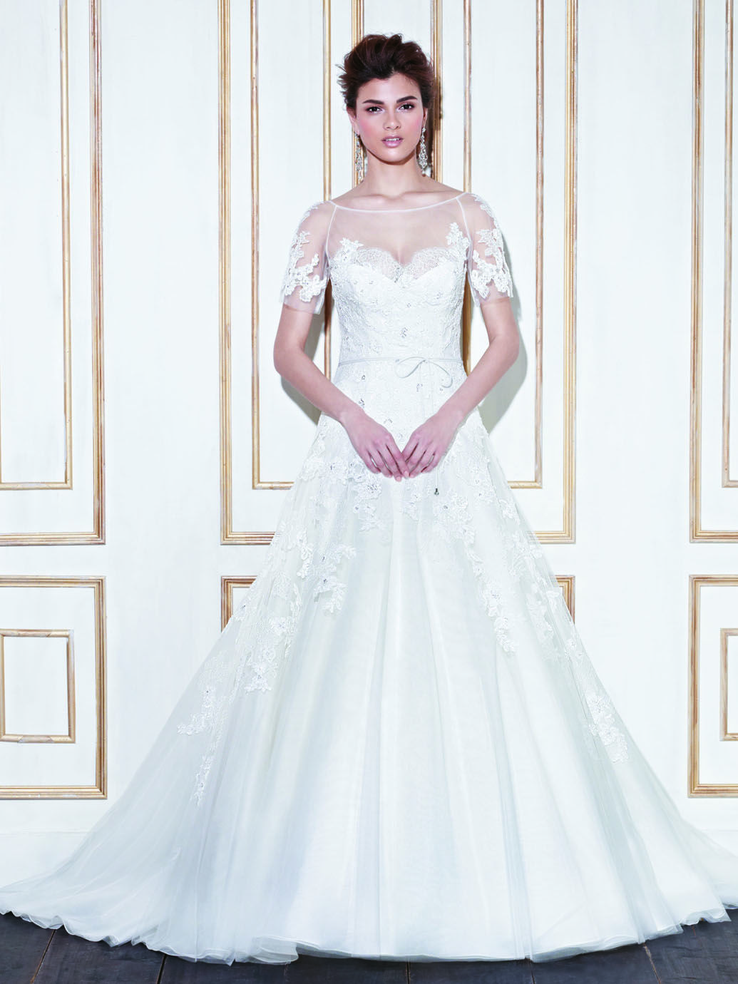 White and blue wedding dress  GLENVIEW  Blue Collection  Enzoani  Available Colours  Ivory