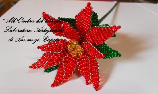 Stella Di Natale Con Perline.Stella Di Natale Fiore Con Perline Rocailles Filo Metallico
