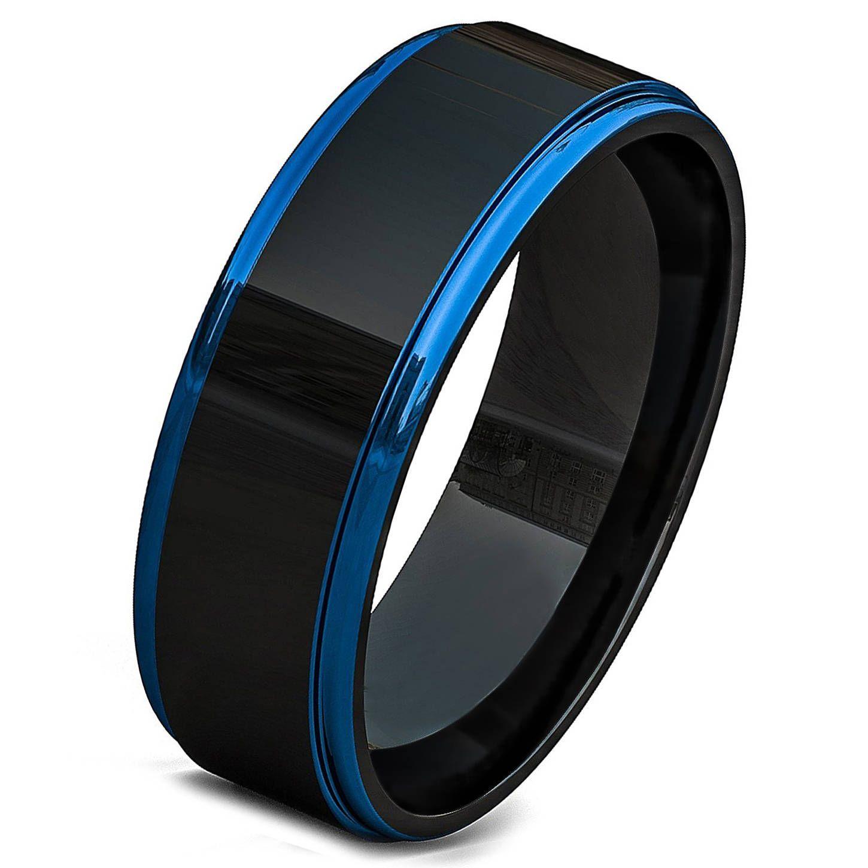 Tungsten Ring Blue Wedding Band Ring Tungsten Carbide 8mm