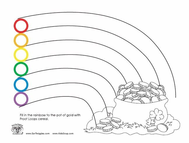 pictures fill in the rainbow to the pot of gold - Coloring Pages Rainbow Pot Gold