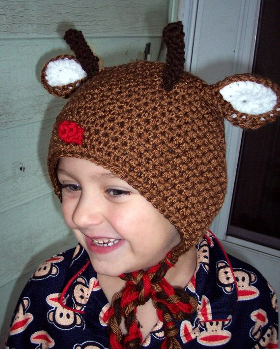 Rustic Reindeer Bonnet by karenswimmer on Etsy, $28.00