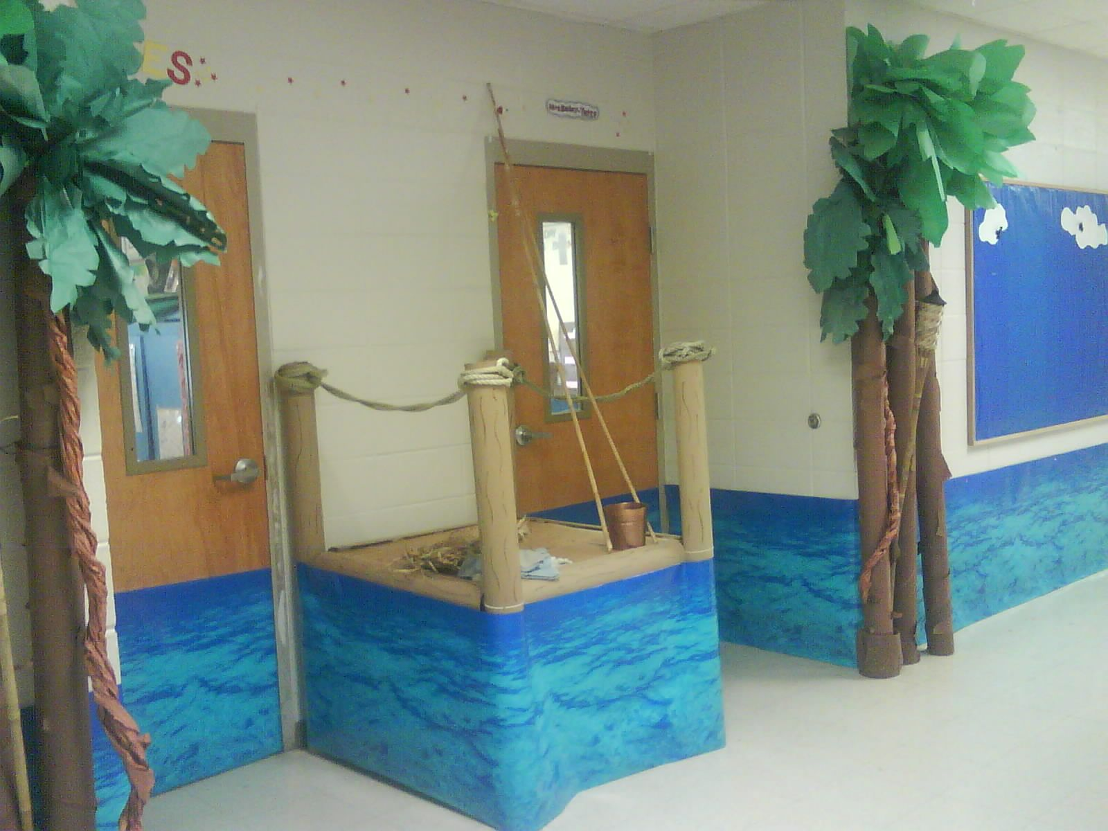 Ocean or water classroom door decoration boat dock is for Lake themed decor