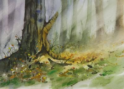 Forest Landscape Watercolor Painting Afternoon Tree Trunk