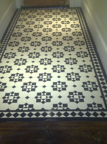 Victorian Old English Original Style Floor Tiles Katrine Black And