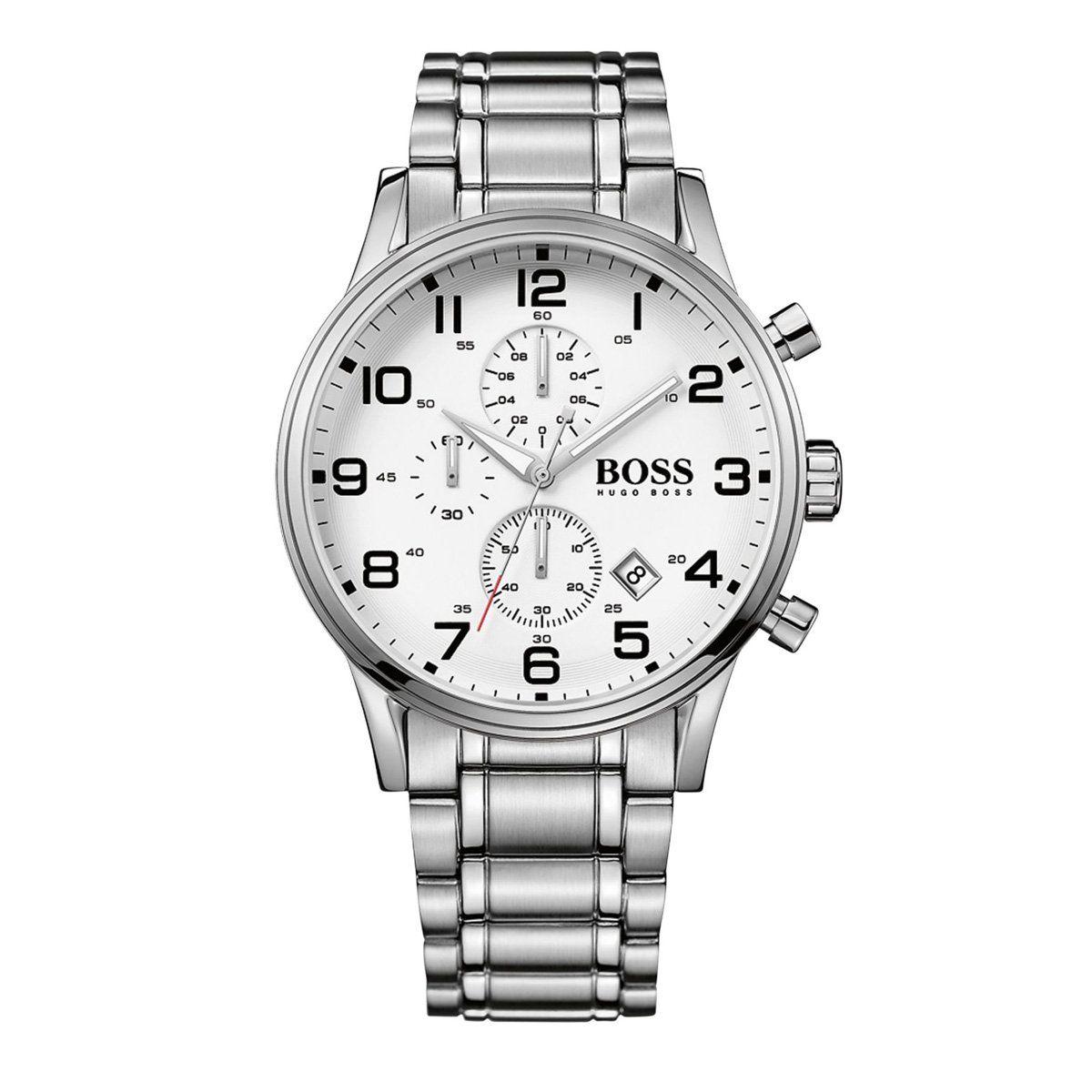 Hugo Boss 1513182 White Chronograph Dial Stainless Steel Bracelet Men's  Watch 1513182 Chronograph,
