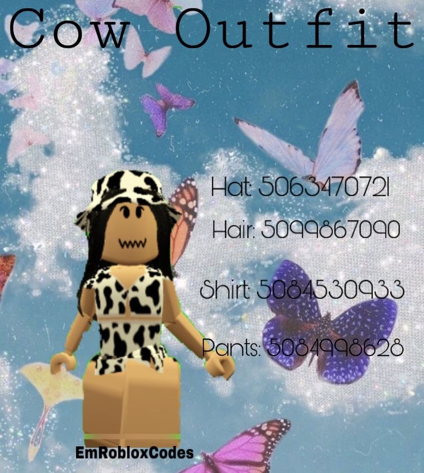 Cow Outfit Bloxburg Ids Cow Outfits Cow Hat Minecraft Skins Aesthetic