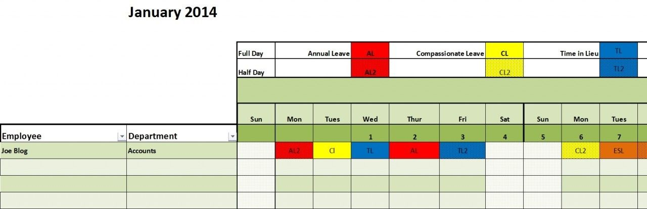 Leave Planner Template Excel | Staff Annual Leave Calendar