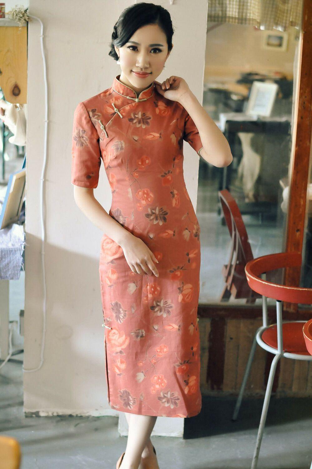 Vintage Chinese Dress Medium Long Linen Qipao Dress Four Point Sleeve Dg Qipao Dress Dresses Linen Dresses [ 1505 x 1000 Pixel ]