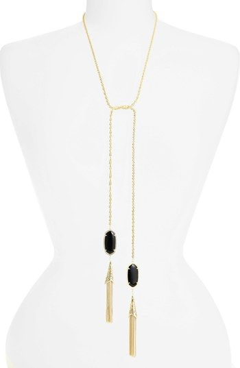 Kendra Scott Megan Oval Stone Fringe Chain Necklace