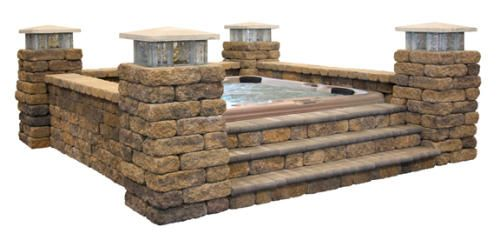 Hot Tub Surround At Menards Possibly With Fire Strips And Counter Height And Chairs With Images Hot Tub Surround Hot Tub Landscaping Pool Hot Tub
