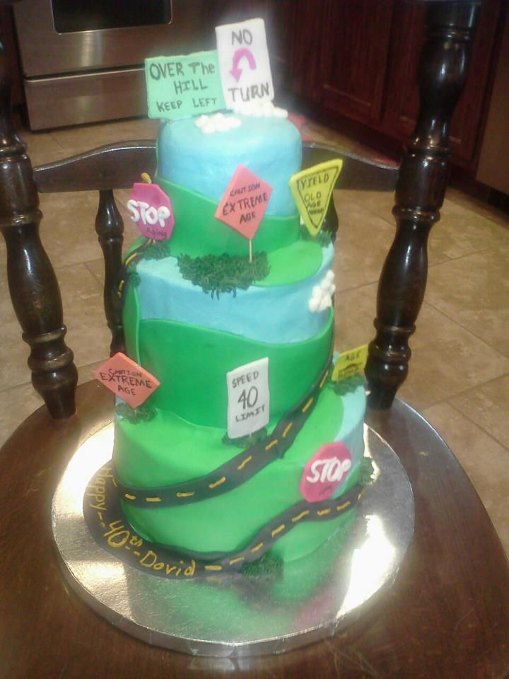 40th birthday cake over the hill speed limit 40 40th