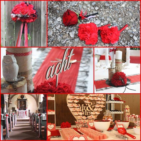Rockabilly Rot Schwarz Weiss Vintage Holz Eule Tischnummer Rose Nelke
