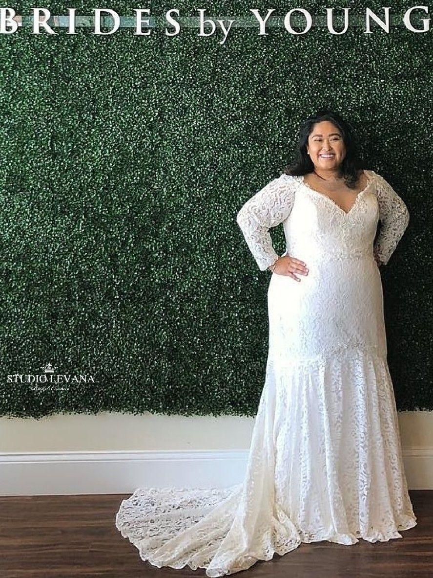 Mermaid lace wedding dress  Unique plus size mermaid lace wedding gown with off shoulder long