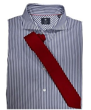 Men 39 s pin striped blue and white shirt with red tie men for Striped shirt with tie