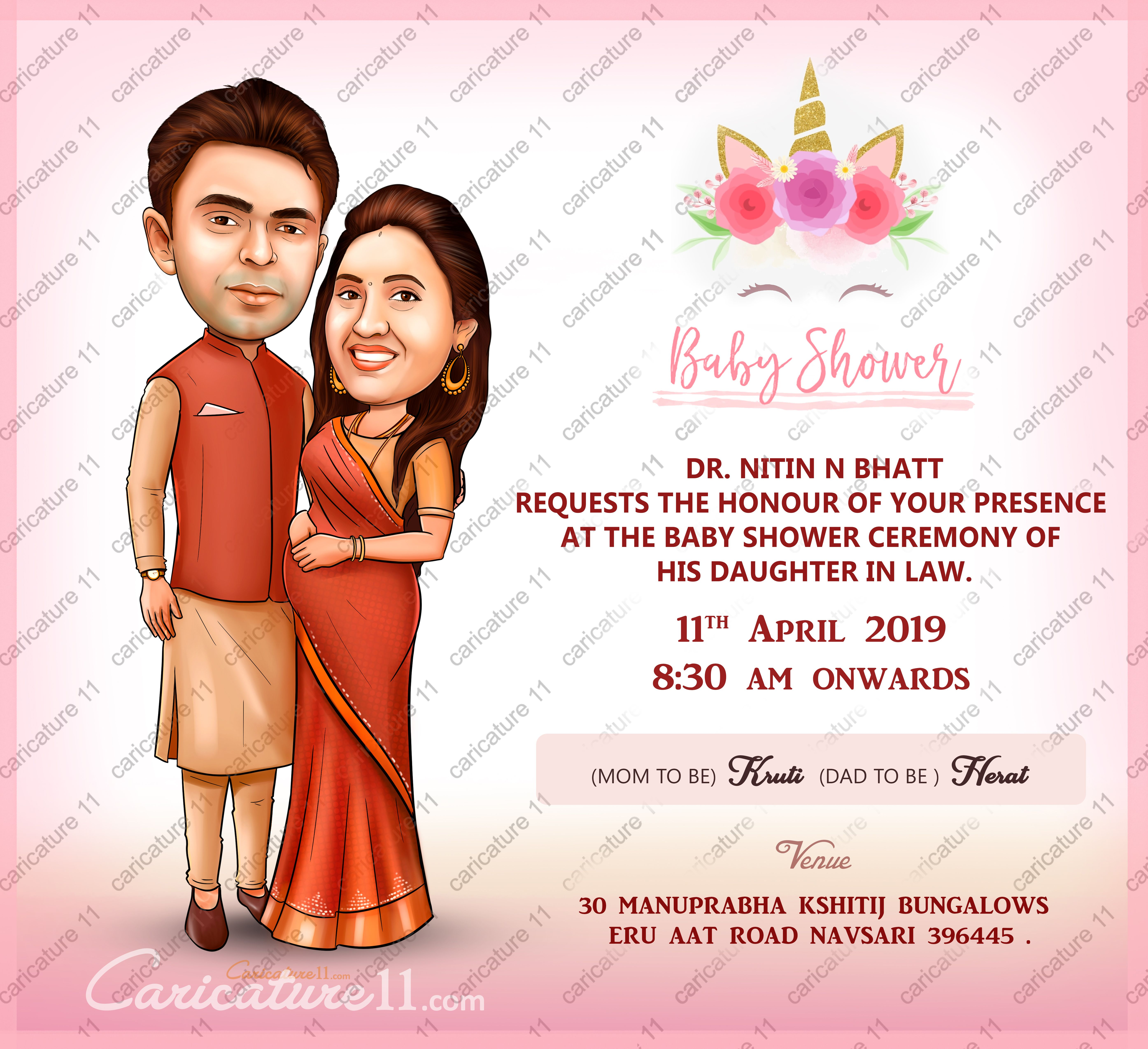Baby Shower Invitation Card Design Couple Caricature