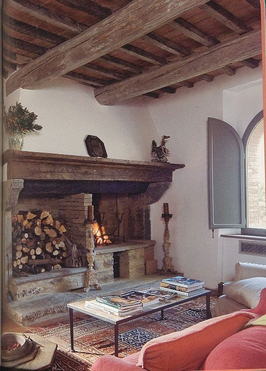 Rustic Tuscan Living Room - Love the open beam ceiling and fireplace