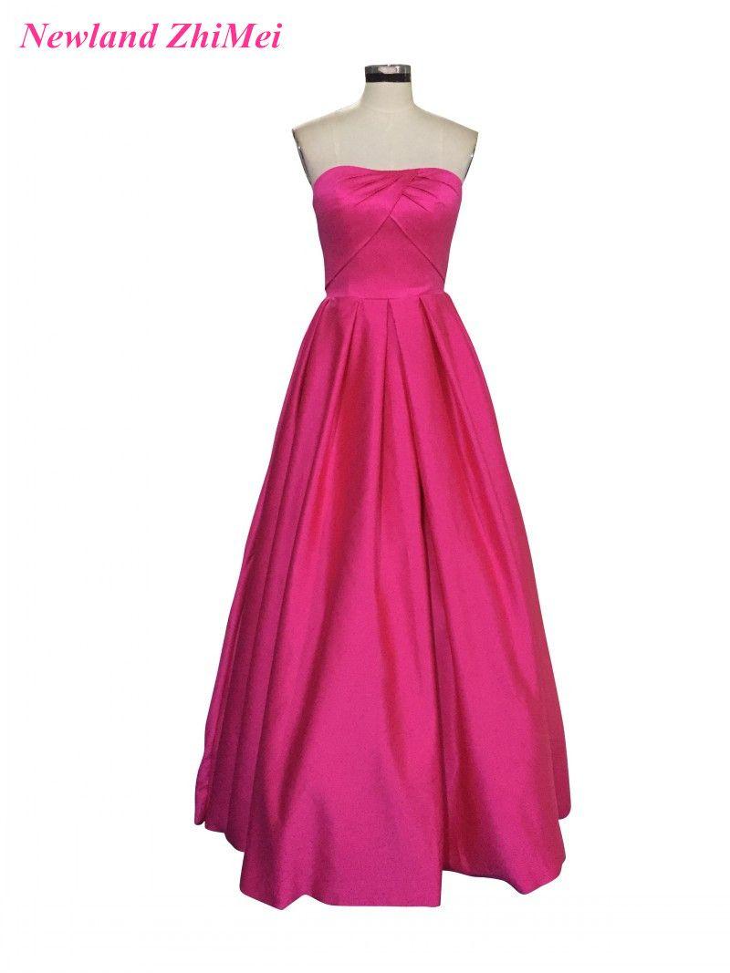 Rose Red Long Satin Prom Dress 2017 Hot Sale A Line Floor Length ...