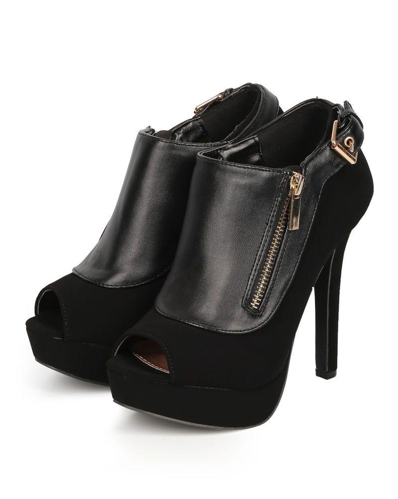 New Women Qupid Gaze-458 Mix Media Peep Toe Platform Stiletto Zipper Bootie #Qupid #PlatformsWedges