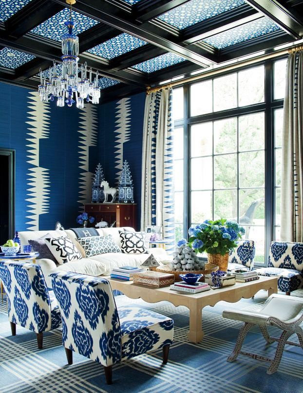 living room in blue%0A Dallas  Blue Family RoomsBlue