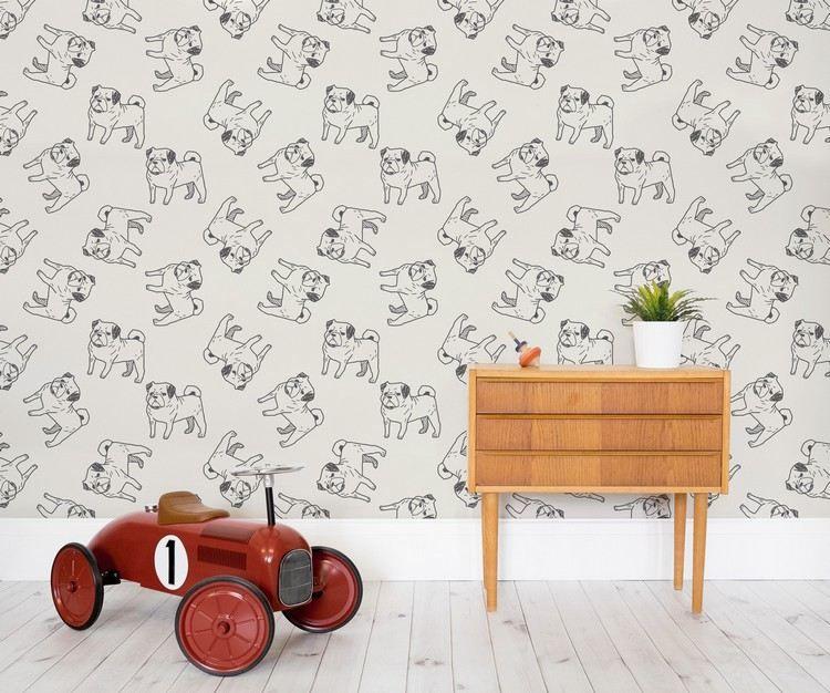 Kinderzimmer mit Auto Spielzeug und Mops Tapete | Ideas for the ...