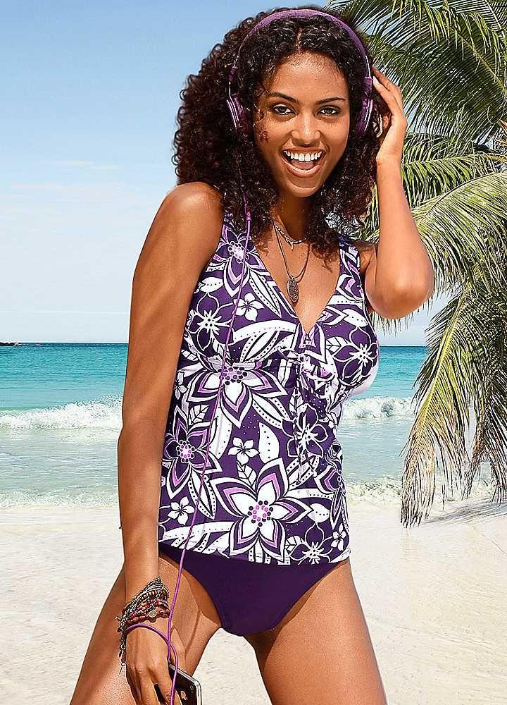 1fc83e3a1c H.I.S Purple Floral Underwired Tankini | Clothes | Tankini, Swimwear ...