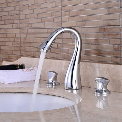 Bathroom Faucet 3 Hole Double Handle Solid Brass Waterfall Basin Sink Mixer Tap Widespread Chrome Finished Sink Mixer Taps Bathroom Faucets Faucet