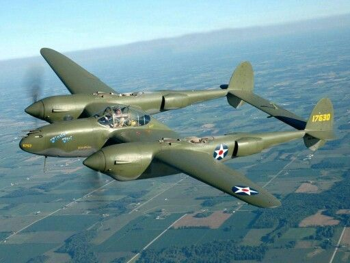 Lockheed P-38 Lightning from WWII. One of the heroes of the war and for me, the grandfather of the current A-10 in his attack plane role.