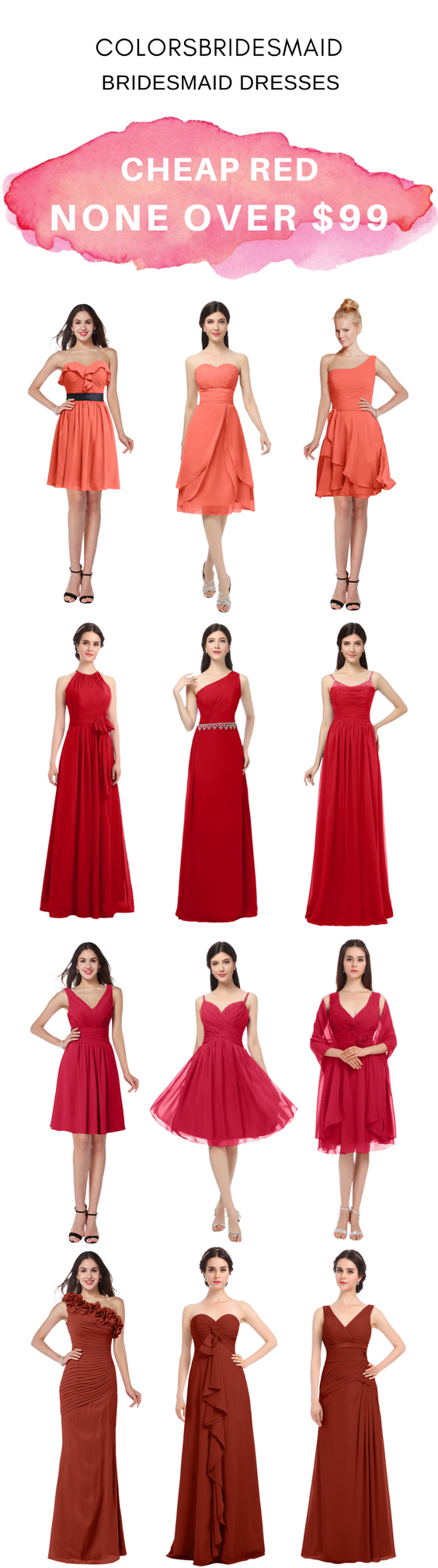 Cheap red bridesmaid dresses in short and long styles in colors of