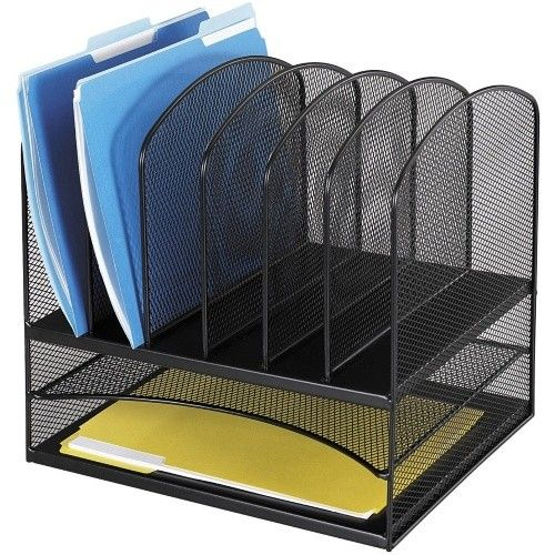 Safco 2-Horizontal / 6-Upright Sections Onyx Desktop Organizer - Office Desk Accessories at Hayneedle
