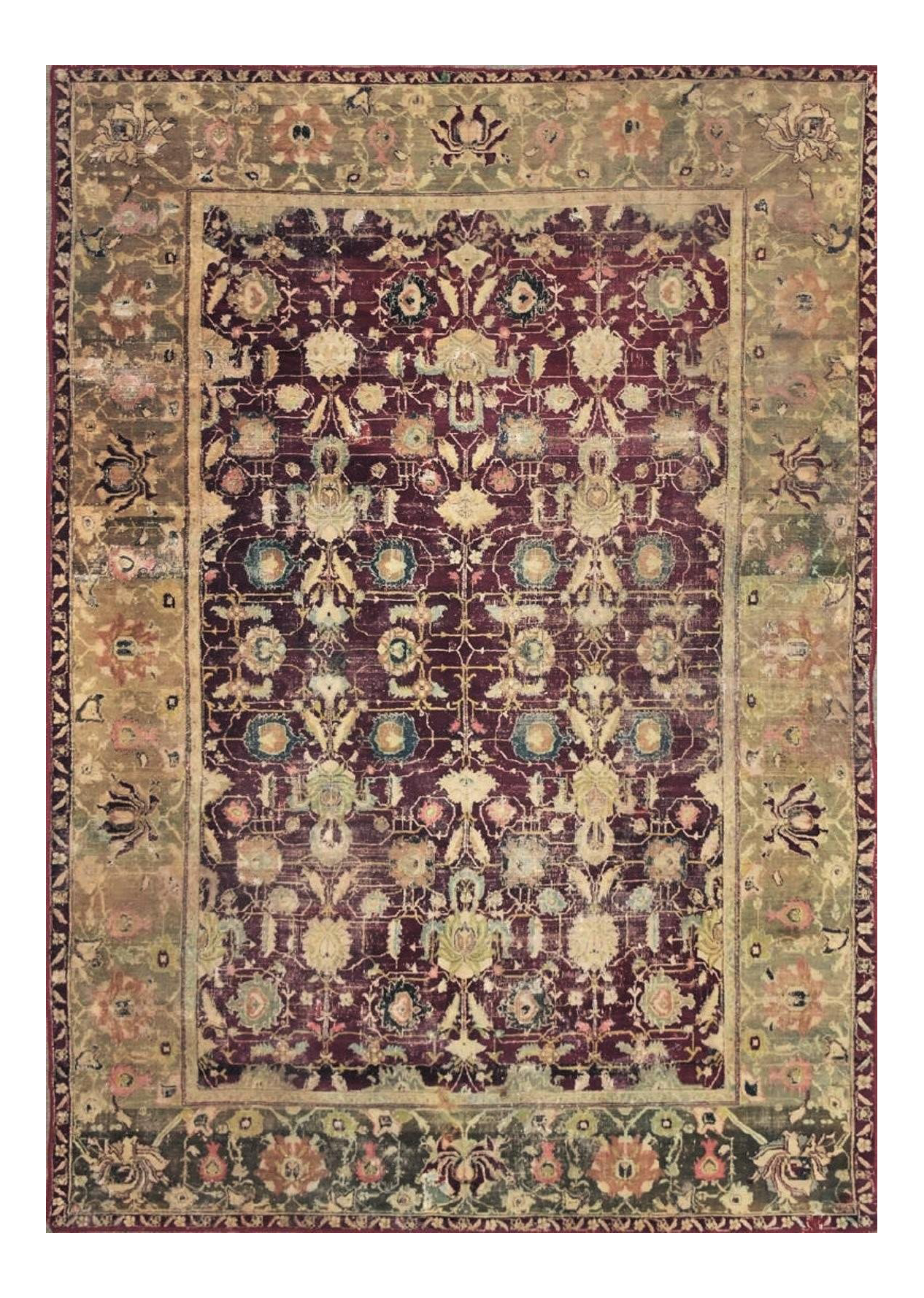 Antique Hand Knotted Agra Rug 7 9 X 11 1 Agra Rug Rugs Green Rug