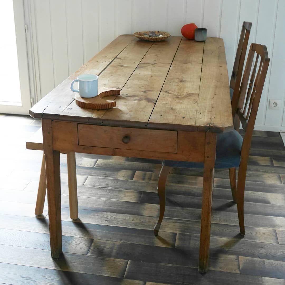 Table de ferme des années 12, table en bois, table à tiroir, table ...