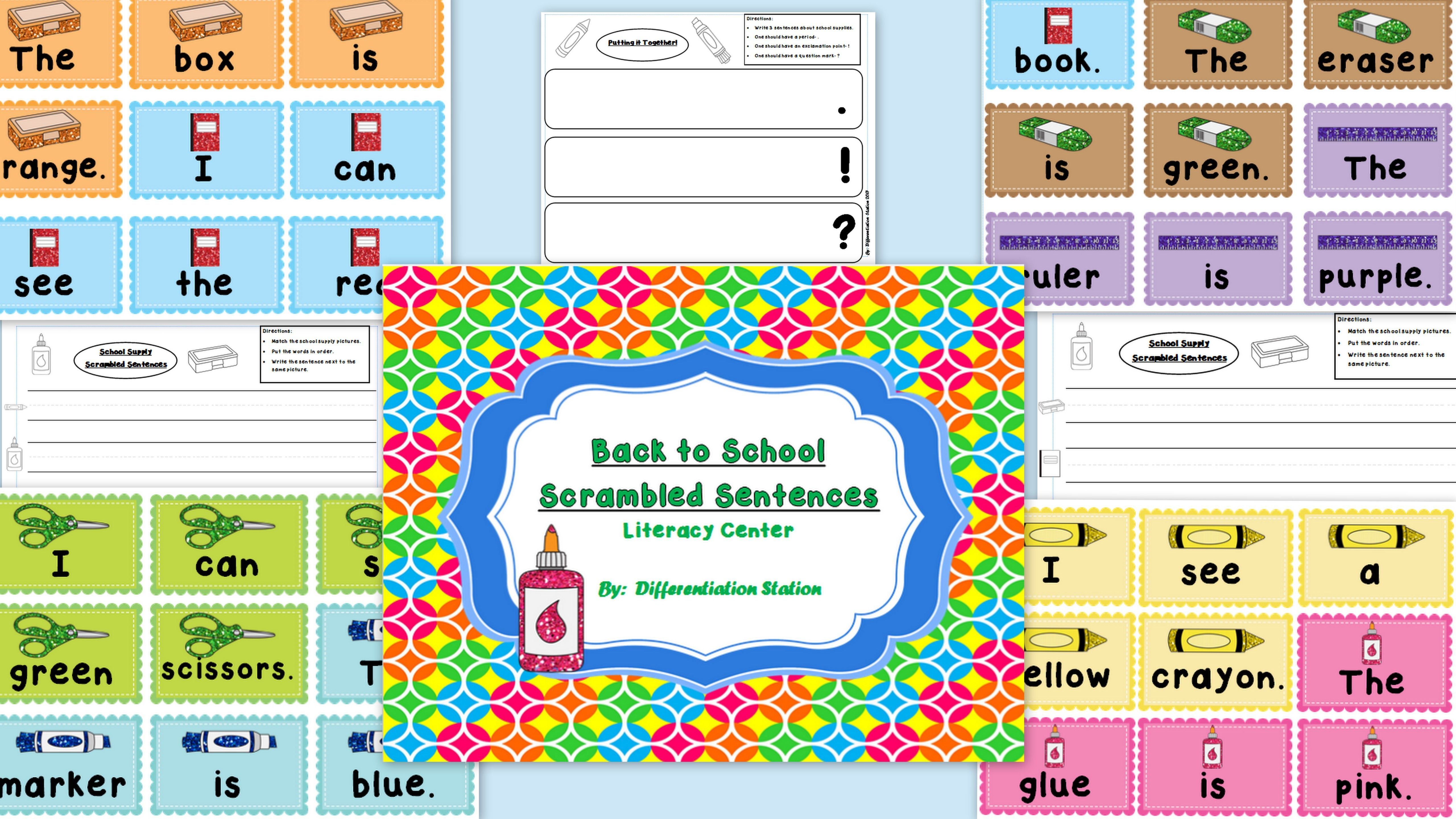 Free Sentence Scramble Kindergarten Worksheet