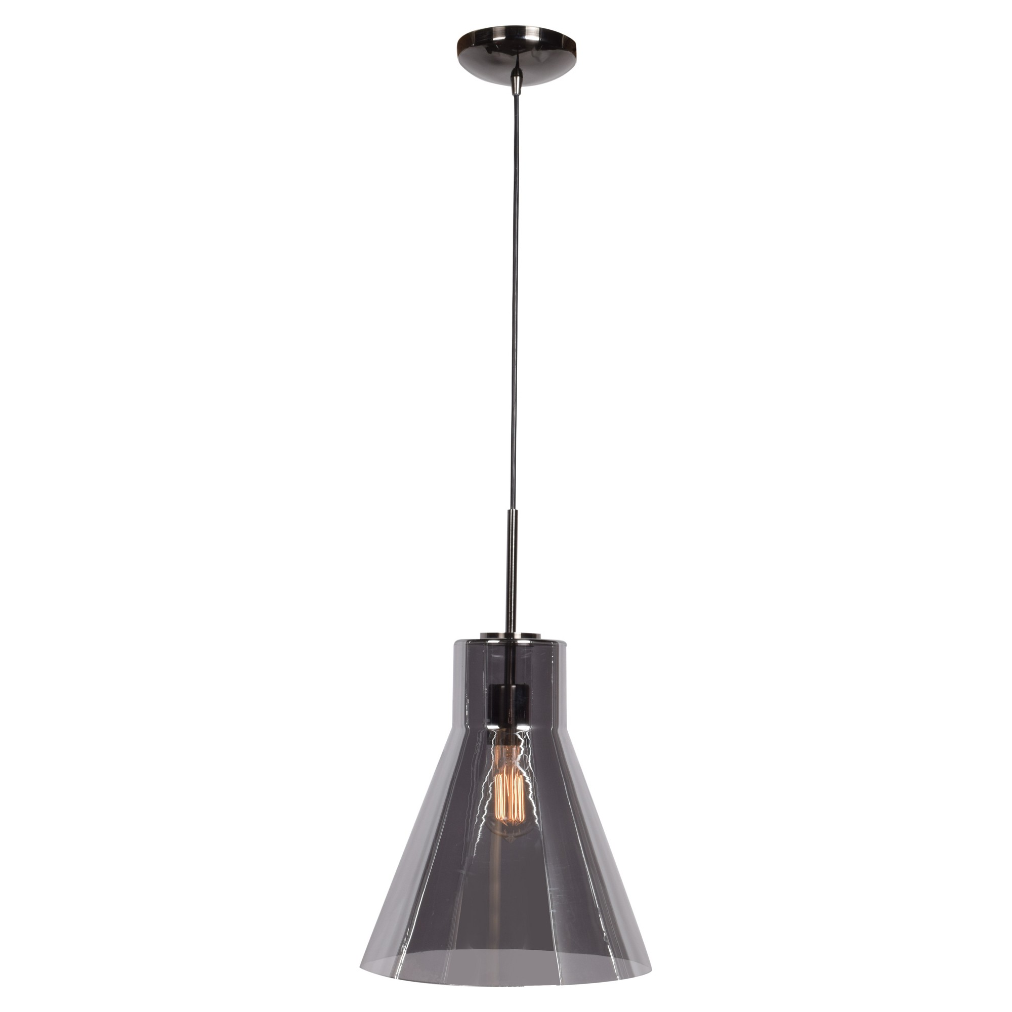 usona lighting. Access Lighting Simplicite 13.25 H 1-Light Cone Pendant - Black Chrome Smoke Glass Shade Usona S