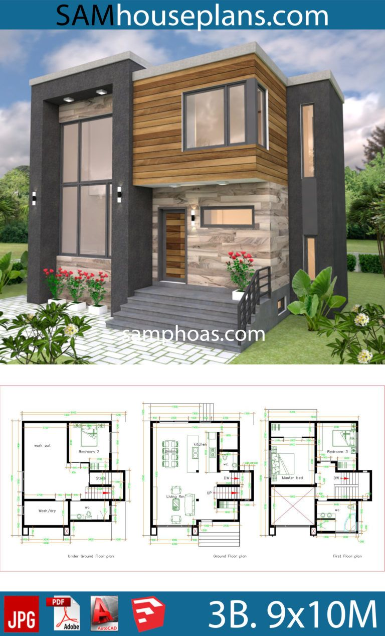 House Plans 9x10m With 3 Bedrooms House Plans Free Downloads In 2020 Small Modern House Plans Small Modern Home Architectural House Plans