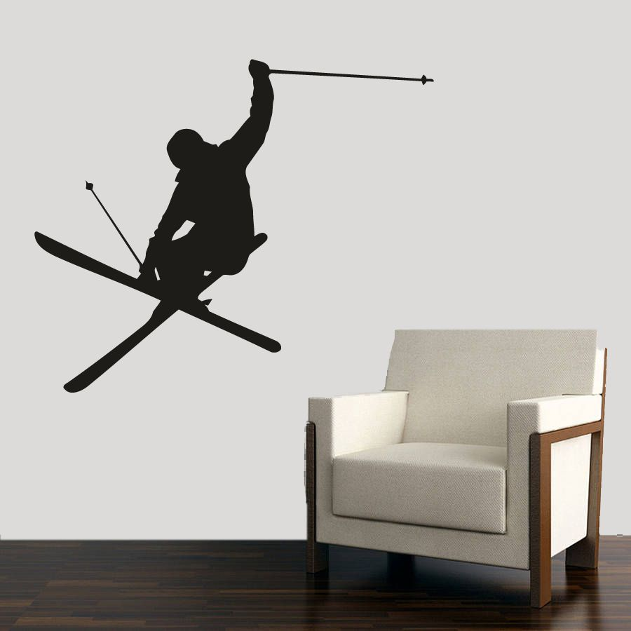 Extreme Sports Skiing 3D Window View Decal WALL STICKER Decor Art Mural Skii