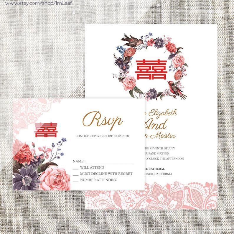 Diy Printable Editable Chinese Wedding Invitation Rsvp Etsy Chinese Wedding Invitation Wedding Invitations Free Printable Wedding Invitations
